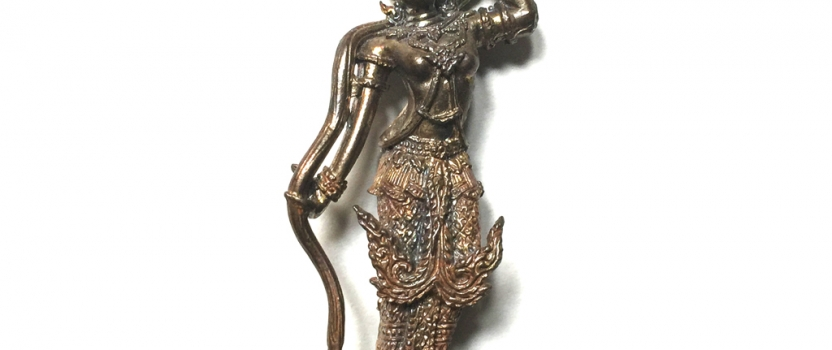 Phra Mae Torani Nawa Metal Loi Ongk Statuette of the Earth Goddess by Luang Por Kalong of Wat Kaolam